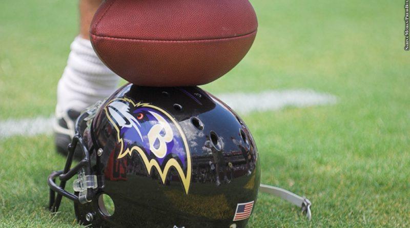 Ravens helmet, football