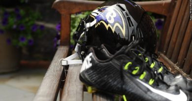 Ravens cleats and helmet