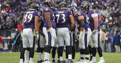 Ravens offense, huddle