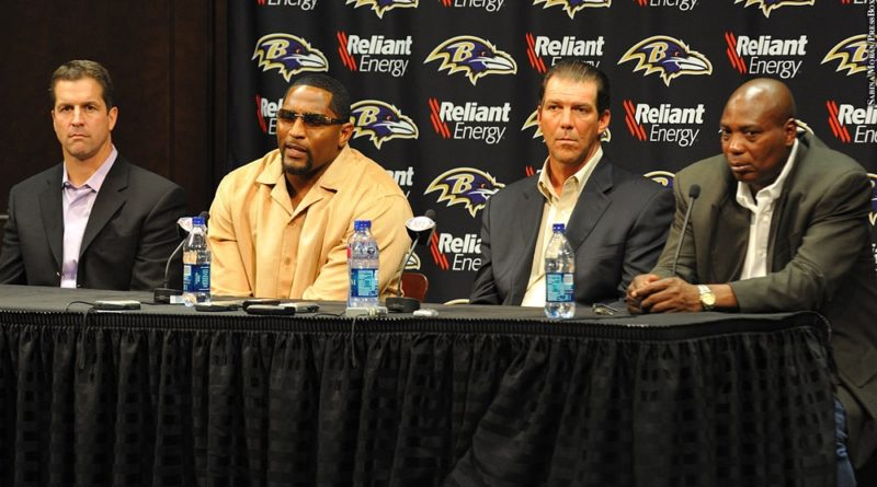 Ray Lewis with John Harbaugh, Steve Bisciotti, Ozzie Newsome