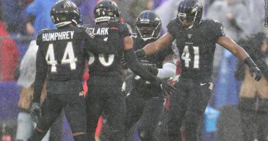 Ravens defense celebrates