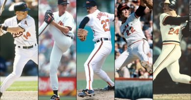 Mike Bordick, Ben McDonald, Dave Johnson, Jim Palmer, Rick Dempsey