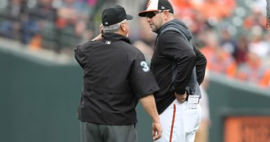 Brandon Hyde with umpire