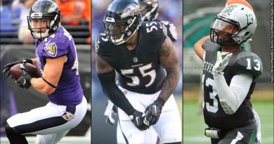 Kyle Juszczyk, Terrell Suggs, Dan Williams