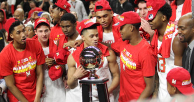 Terps with Big Ten trophy