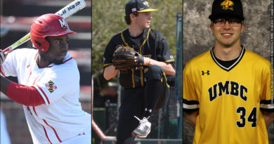 Maryland's Maxwell Costes, Towson's Cam Clark, UMBC's Keegan Leffler