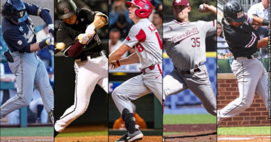 Austin Martin, Spencer Torkelson, Heston Kjerstad, Asa Lacy, David Gonzales (Photo Credits: Courtesy of Vanderbilt, Sun Devil, Arkansas, Texas A&M and New Mexico State Athletics)
