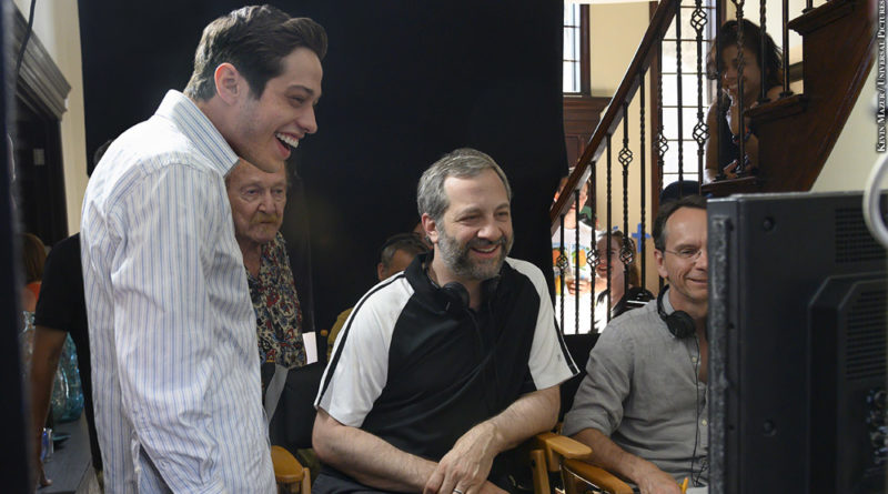 """Pete Davidson and director Judd Apatow with crew members on the set of """"The King of Staten Island."""""""