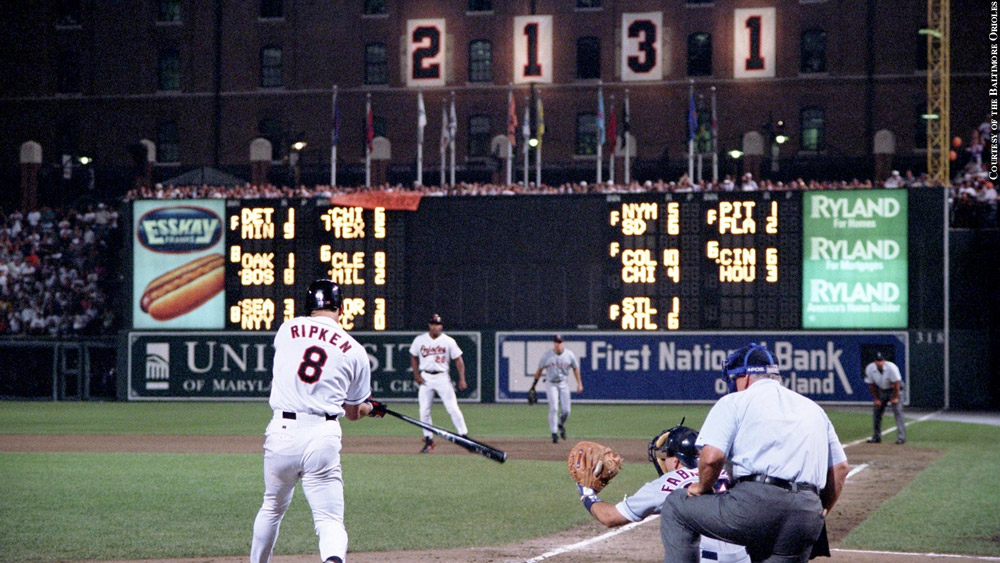Cal Ripken at bat on night of 2,131