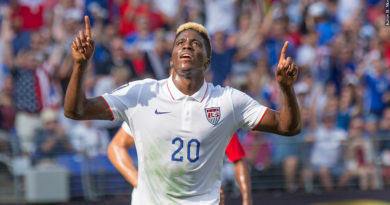 Gyasi Zardes celebrates at the 2015 CONCACAF Gold Cup in Baltimore.