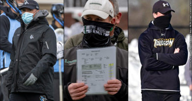 Johns Hopkins Lacrosse Coach Peter Milliman, Loyola's Charley Toomey, Towson's Shawn Nadelen