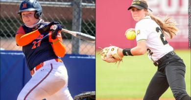 Morgan State Softball's Haylee Bobos and UMBC Softball's Maddie Daigneau