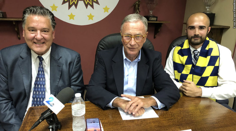 L-R M2 commissioner Chris Economides, Baltimore Blast owner Ed Hale and Baltimore Kings owner Josh Danza