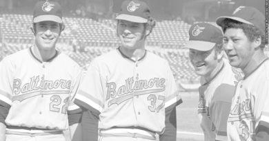 L-R Jim Palmer, Pat Dobson, Dave McNally and Mike Cuellar